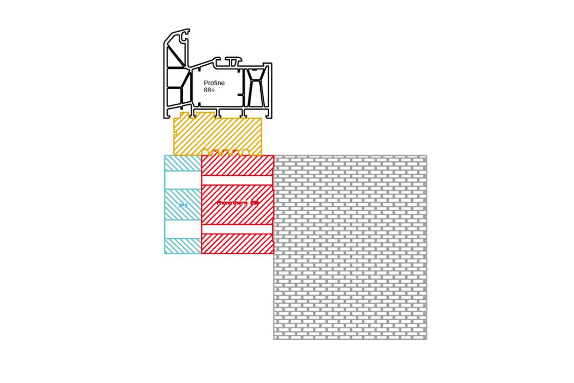 Vorwandmontagezarge und Fensterbankanschlussprofil für Rahmen mit 90 mm Breite
