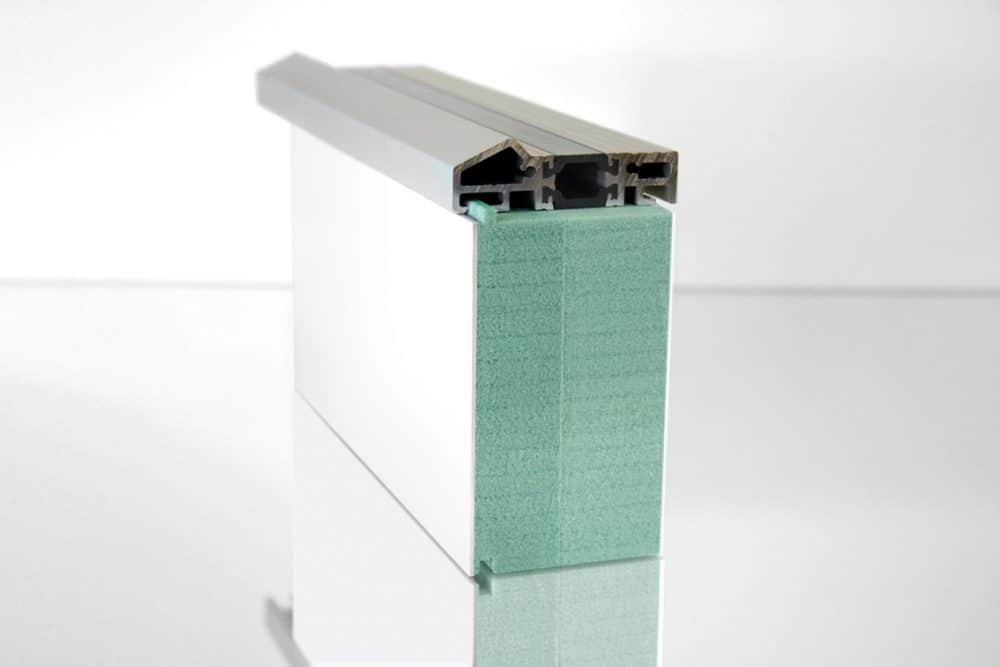 Unterbaudämmprofil mit Alu-Türschwelle aus Kerdyn Green FR